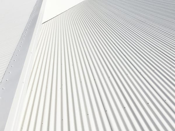Grey Metal sheets Roofing are installed on the steel structure
